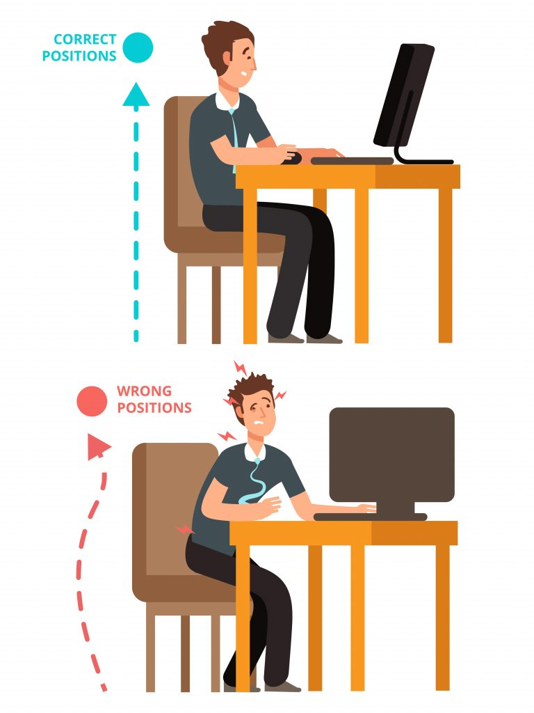 This illustration shows the difference between good posture and bad posture using ergonomic tips.